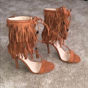 Fringe open toe lace up booties